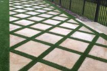 Synthetic Turf International SoftLawn Lawn and Landscape Artificial Grass with P. Synthetic Turf I Concrete Backyard, No Grass Backyard, Backyard Plan, Concrete Patios, Grass Pavers, Garden Pavers, Front Garden Landscape, Lawn And Landscape, Landscape Design