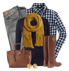 Navy Top, Mustard Scarf by uniqueimage on Polyvore featuring J.Crew, American Eagle Outfitters, Tory Burch, MICHAEL Michael Kors and Chanel