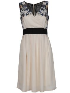 CREAM-PRINT CHIFFON V-NECK WRAP DRESS Shop here: http://pussycatlondon.com/new-arrivals/beige-chiffon-v-neck-wrap-dress.html
