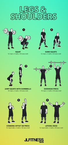 Shoulder Workouts With Weights, Shoulder And Leg Workout, Leg Workouts For Men, Workout Routine For Men, Gym Workout Tips, Chest Workouts, Dumbbell Workout, Men Exercise, Workout Men