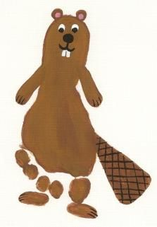 B- Footprint beaver! Lots of fun ideas for handprints and footprints on this site Patton Daycare Crafts, Baby Crafts, Toddler Crafts, Crafts For Kids, Daycare Rooms, Toddler Art, Canada Day Crafts, Fingerprint Art, Footprint Crafts