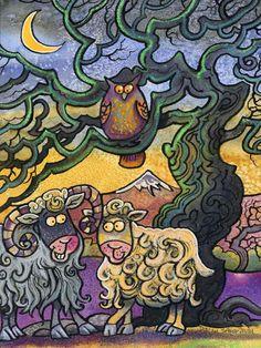 Under the Ewe tree! English Artists, My Animal, Animal Paintings, Welsh, Folk Art, Fun, Animals, Animales, Welsh Language
