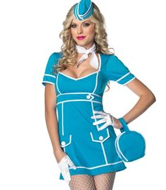 "Everyone will be looking forward to the moment where you ask, ""Would you like a drink sir?"" This Sexy Flight Attendant Costume features a vintage aqua dress and is contrasted with white trim and buttons. This costume comes completed with matching mini luggage purse, scarf, and hat.  White Mini Cropped Gloves sold separately. Price $55.00"
