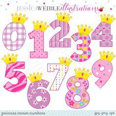 Princess Crown Numbers Digital Clipart - JW Illustrations