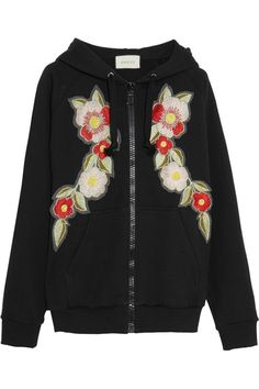Gucci - Embroidered Printed Cotton-jersey Hooded Top - Black -