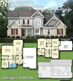Architectural Designs Exclusive House Plan 790003GLV gives you 3+ beds, 3+ baths and over 2,300 square feet of heated living space. Ready when you are. Where do YOU want to build? #790003GLV #adhouseplans #architecturaldesigns #houseplan #architecture #newhome #newconstruction #newhouse #homedesign #dreamhome #dreamhouse #homeplan #architecture #architect #craftsman #traditional
