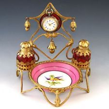 19c French Cranberry Glass Scent Perfume Bottles Pocket Watch & Pin Dish Stand