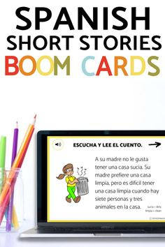 Spanish students will love these beginner Spanish short stories. They have high frequency verbs for novice learners which is great for comprehensible input and an audio option for them to listen while they read along - great for listening practice! You'll love this no prep Spanish teaching resource for elementary school, middle school, and high school classrooms. Click to learn more about these digital and printable Spanish stories for your Spanish classes! Spanish 1, Spanish Class, Comprehensible Input, Middle School Spanish, Spanish Teaching Resources, Spanish Lesson Plans, School Classroom, Ten, Short Stories