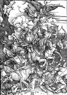 -DÜRER-The Revelation of St. John. The Four Riders of the Apocalypse, 39,9 x 28,6cm. Kupferstichkabinett, Staatliche Kunsthalle, Karlsruhe.
