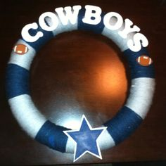 Cowboys yarn wreath
