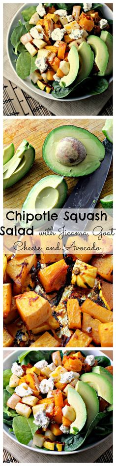 Want a life full of health and happiness? This Chipotle Squash Salad with Jicama, Goat Cheese, and Avocado will help you get there!