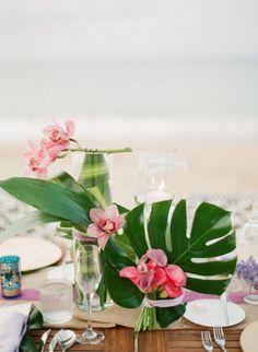Tropical centerpieces- so pretty!! #orchids #tropical #centerpieces