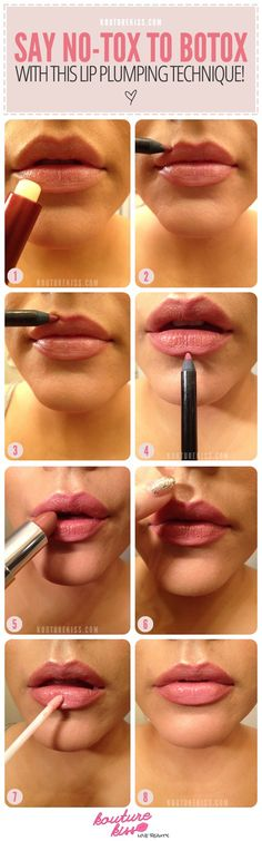 Begin with a clean lip. ... Get a tiny bit of cinnamon, and Vaseline or Aquaphor and mix them together on or in a container of choice. ... Apply the mix to your lips. ... Leave the mixture on for a bit then when fullness is achieved carefully wipe off. ... Apply an extra outer coat of Vaseline or lip gloss. highendbeau.com