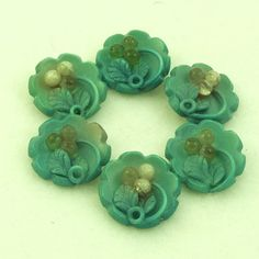 Vintage 1930s Celluloid Buttons Berries Leaves Teal