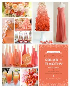 """Pinks & Orange Ombre Wedding Theme. Terracotta """"Save the Date"""" card is from the """"Meant to Be"""" collection, Designed by Lauren DiColli Hooke for Kleinfeld Paper.com --- Links to the photos of Pink & Orange Wedding ideas can be found in my """"Orange Wedding"""" Pinterest board."""