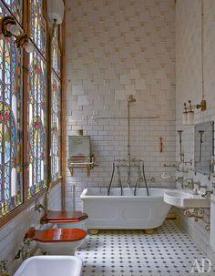 Bath at Casa Navás; Reus, Catalonia, Spain. Architect: Lluís Doménech i Montaner
