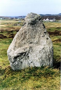 Another of the Calanish stones. This one has a large mouth below a big nose and deep set eyes.