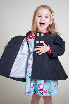 Gabriella's Winter Wool Coat - PDF Sewing Pattern by Bella Sunshine Designs for sizes 6m through girls 12 - Oh this coat is so beautiful! I love the twirly back and how gorgeous the inside is! I can't wait to sew a coat. Putting this on my must buy list!