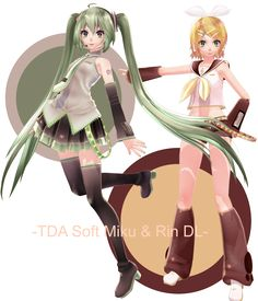 . : TDA Soft Miku and Rin + DL : . by Sushi-Kittie