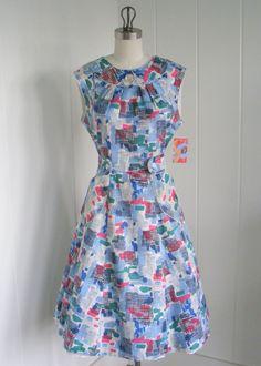 Vintage Blue Wrap House Dress by vintagebluemoon Vintage Clothing, Vintage Fashion, Vintage Sewing, Vintage Style, Women's Fashion, 1950s Outfits, Vintage Outfits, Dress Me Up, I Dress
