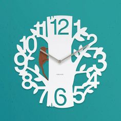 Woodpecker Clock White