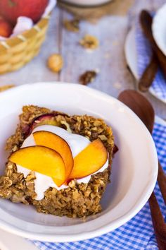 Peach Oatmeal Bake with Whipped Coconut Cream-9031