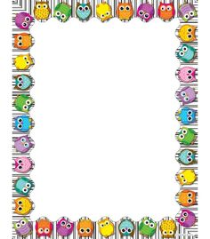 Use this whimsical, delightful Colorful Owls design to promote your classroom theme! So many uses to liven up projects, writing assignments, class new. Free Cliparts, Owl Theme Classroom, Boarders And Frames, Computer Paper, Writing Assignments, Owl Crafts, Borders For Paper, Binder Covers, Note Paper