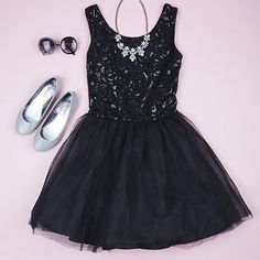 vestido negro tipo bailarina con falda en seda