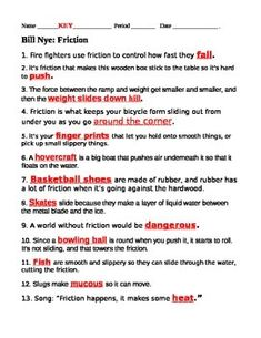 Worksheet Bill Nye The Science Guy Energy Worksheet we the ojays and bill nye on pinterest friction video questions