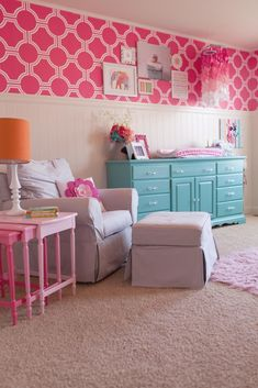 Hot Pink and Aqua Nursery - we love the custom @spoonflower wallpaper + fun aqua dresser!