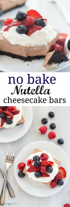 These No Bake Chocolate Nutella Cheesecake Bars are SO easy and perfect for topping with fresh berries! Rich, creamy and no oven required! Nutella Bar, Nutella Cheesecake, Cheesecake Bars, Cheesecake Recipes, Easy Desserts, Delicious Desserts, Dessert Recipes, Yummy Food, Yummy Treats