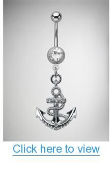 14 Gauge Anchor Banana Belly Button Ring #Gauge #Anchor #Banana #Belly #Button #Ring