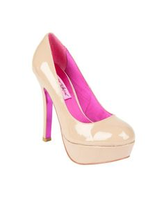 """Betsy Johnson """"DEEEVA"""" Platform Pump. I absolutely LOVE the hot pink accents!"""