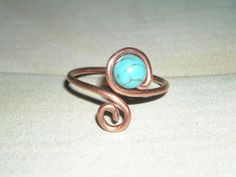Turquoise Copper Ring Handmade Copper Ring Turquoise Swirl Wrap Ring Summer Ring Earthy Jewelry Adjustable Turquoise Ring Copper Toe Ring by UnikButikJewelry on Etsy