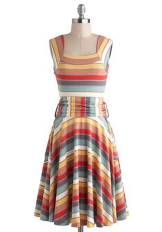 I'm not usually a fan of stripes, but this dress makes me happy.  Guest of Honor Dress in Stripes, #ModCloth