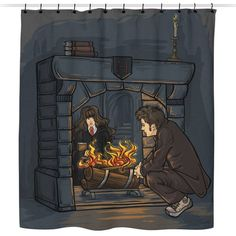 The Witch in the Fireplace - Shower Curtain