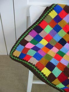 Blanket Afghan Crochet Knit Bedspread Winter Colorful. $98.00, via Etsy.