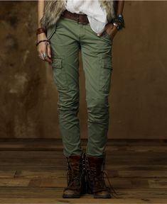 Denim & Supply Ralph Lauren Pants, Skinny Stretch Cargo Pants. Love the boots too.