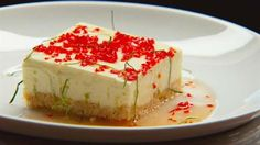 Angelic cheat's cake with devilish chilli lime syrup - masterchef Australia 2013 Flan, Sauce Chili, Masterchef Recipes, Masterchef Australia, Master Chef, Biscuits, Fancy Cakes, Chocolate, Tray Bakes