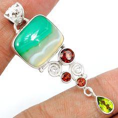 Botswana Agate 925 Sterling Silver Pendant Jewelry BSAP715 - JJDesignerJewelry