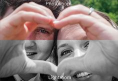 Split Image of Couple Forming Heart with Their Hands