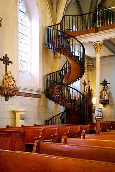 The Miraculous staircase. Loretto Chapel, Santa Fe, New Mexico. Visited in 1973?