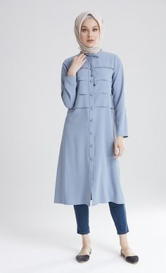 M5254-TUĞBA KAP Ethnic Fashion, I Love Fashion, Hijab Fashion, Women's Fashion, Tunic Blouse, Shirt Dress, Moslem Fashion, Blouse Models, Hijab Dress