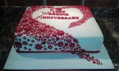 Ruby Wedding Anniversary by Karen Flude - http://cakesdecor.com/cakes/220343-ruby-wedding-anniversary