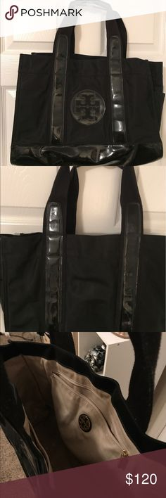 Authentic Black Tory Burch Bag Waterproof jelly material. Holds a laptop and more. All black. Used plenty but still looks in perfect shape. Loved this bag for travel and beach days! Will negotiate price Tory Burch Bags Shoulder Bags