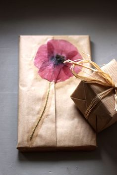 How to: Pressed Flowers as gift wrap.