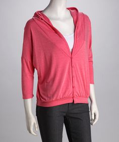 Take a look at this Blush Hooded Three-Quarter Sleeve Cardigan by Rebecca Michaels on #zulily today!