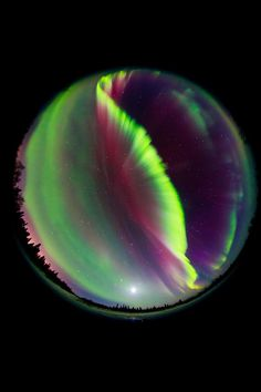 Alaska northern lights Al Perry. 5d34687 Full sky view, northern lights and moon