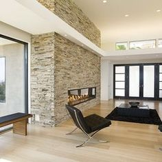 Edge grain bamboo flooring with an airstone tile feature wall - I LIKE THIS STYLE!