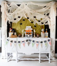 dessert table- love the white cheese cloth drape Going to use this set up for pictures and then replace the bench with the serving table.